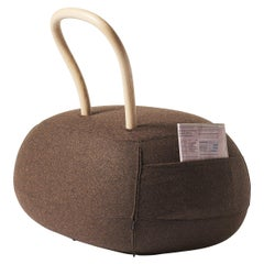 Yum Yum Large Pouf in Brown Fabric by Lapo Ciatti