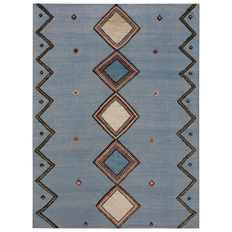 Yuma Hand-Knotted Wool Contemporary Rug For Sale