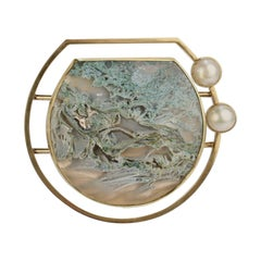 Yumi Ueno 18 Karat Gold, Moss Agate, Cultured Pearl and Sterling Silver Brooch