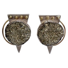 Yumi Ueno 1990s Retro Geometric Earrings in Silver, 14 Karat Gold, and Pyrite