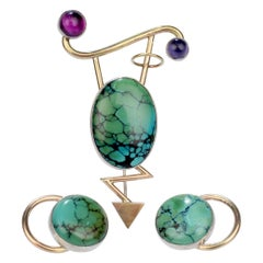 Yumi Ueno Silver & Gold Earrings & Brooch Set with Matrix Turquoise & Gemstones