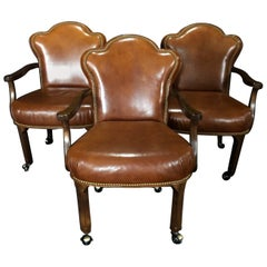 Yummy Caramel Leather Set of Three Vintage Library Club or Desk Chairs