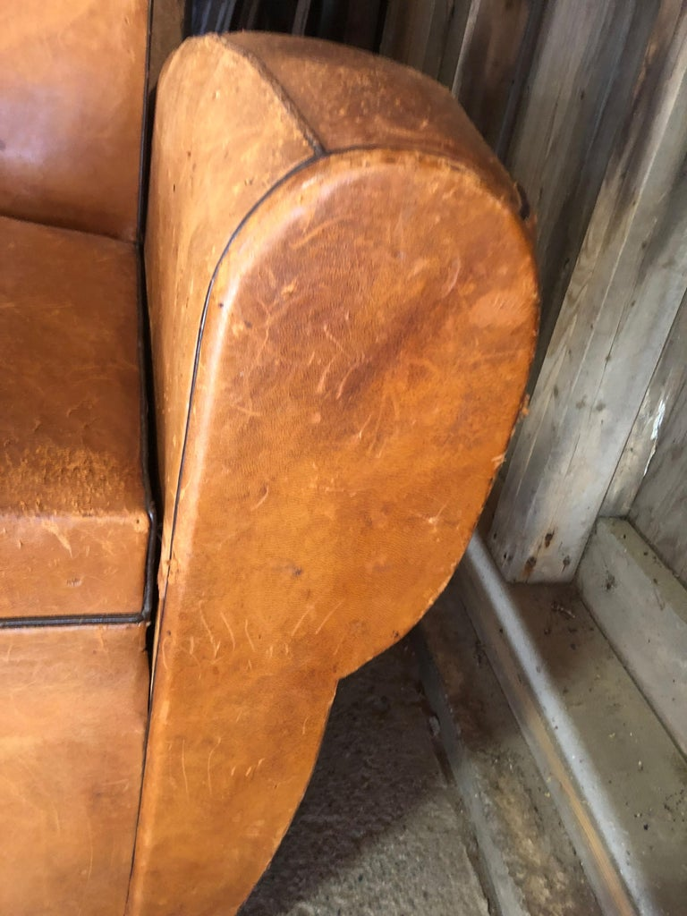 Yummy Distressed Leather Vintage Mustache Back French Sofa For Sale 6