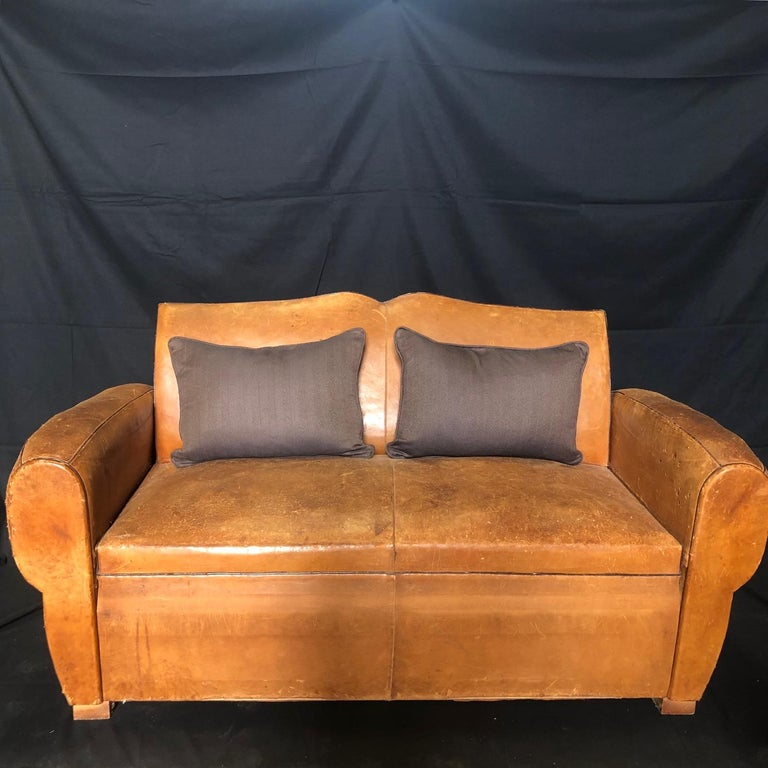 Yummy Distressed Leather Vintage Mustache Back French Sofa For Sale 13