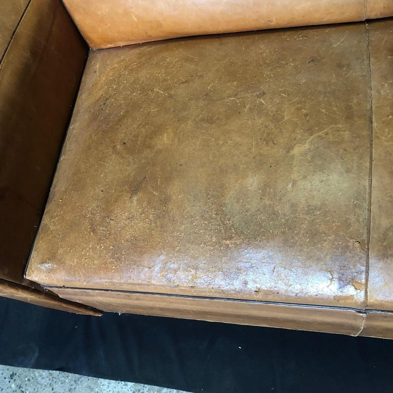 Yummy Distressed Leather Vintage Mustache Back French Sofa For Sale 15