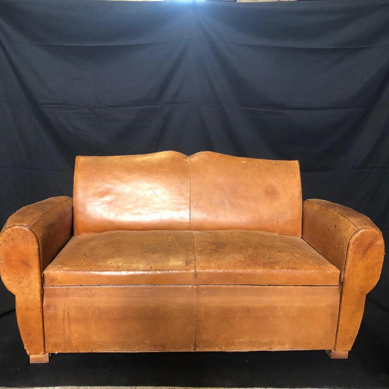 Yummy Distressed Leather Vintage Mustache Back French Sofa For Sale 16