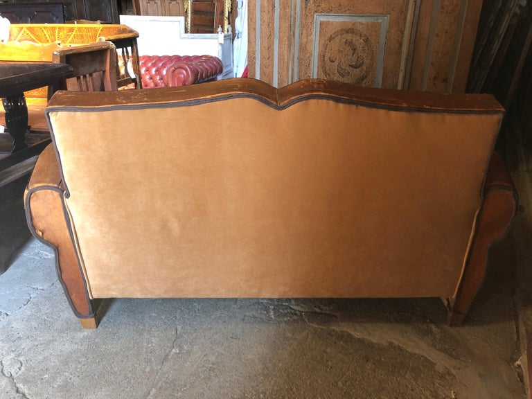 Yummy Distressed Leather Vintage Mustache Back French Sofa In Distressed Condition For Sale In Hopewell, NJ