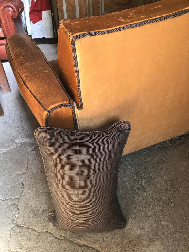 Yummy Distressed Leather Vintage Mustache Back French Sofa For Sale 1