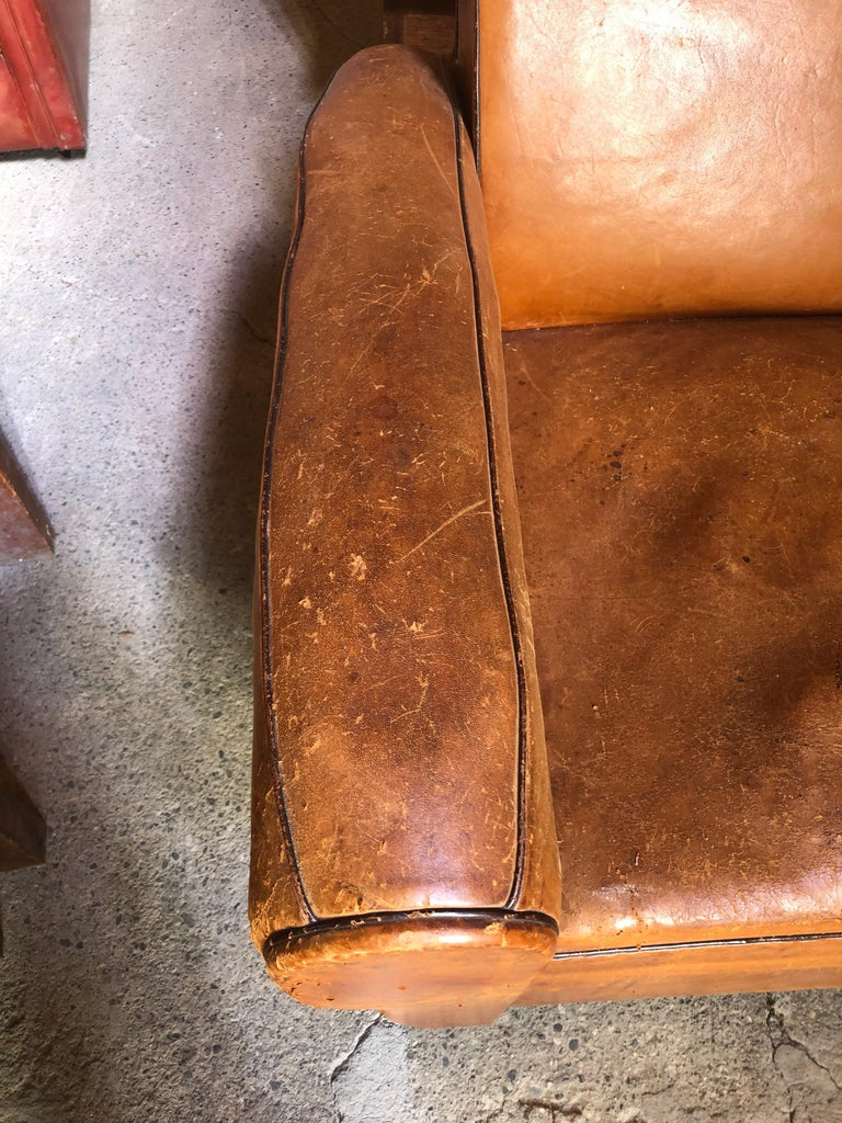 Yummy Distressed Leather Vintage Mustache Back French Sofa For Sale 4