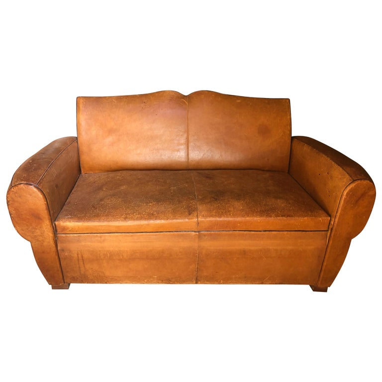 Yummy Distressed Leather Vintage Mustache Back French Sofa For Sale