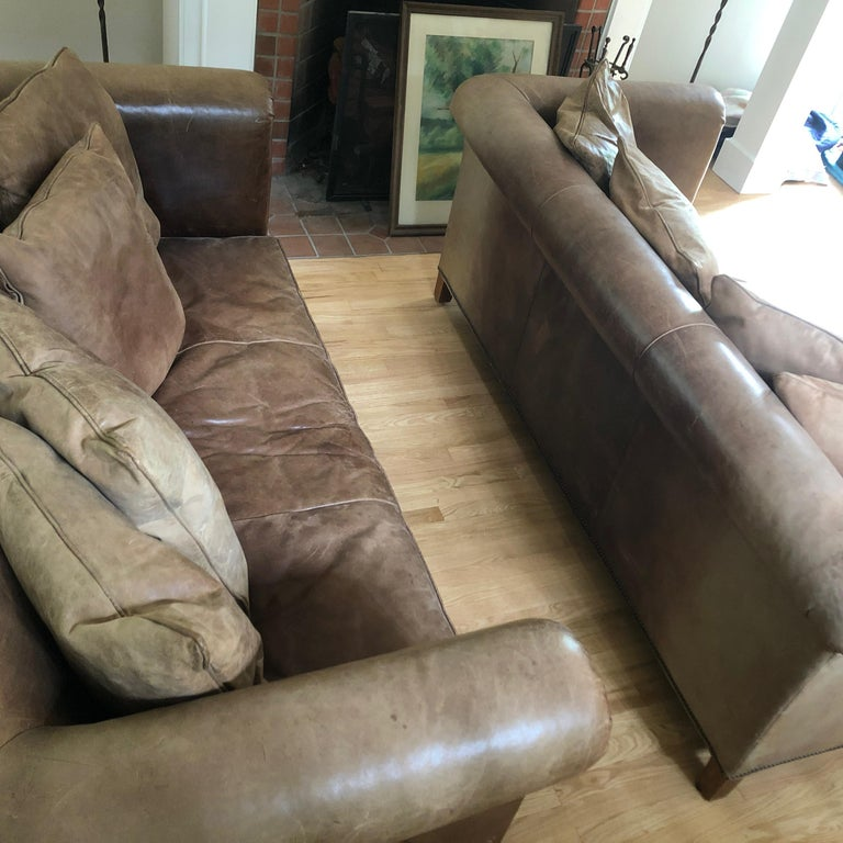 Yummy Pair of Soft Leather and Down Ralph Lauren Sofas 7