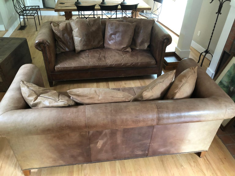 Yummy Pair of Soft Leather and Down Ralph Lauren Sofas 8