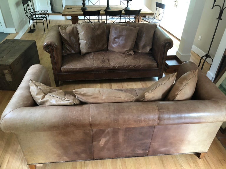 American Yummy Pair of Soft Leather and Down Ralph Lauren Sofas
