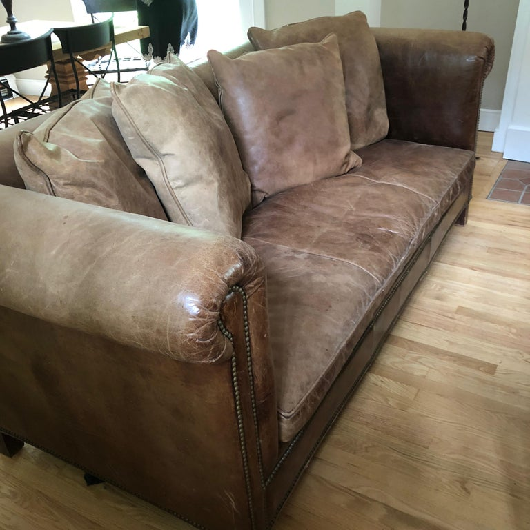 Yummy Pair of Soft Leather and Down Ralph Lauren Sofas In Excellent Condition In Hopewell, NJ