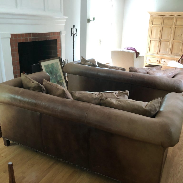 Yummy Pair of Soft Leather and Down Ralph Lauren Sofas 4