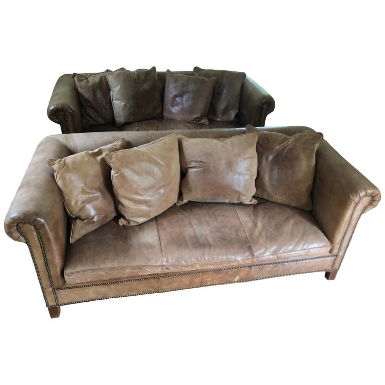 Yummy Pair of Soft Leather and Down Ralph Lauren Sofas