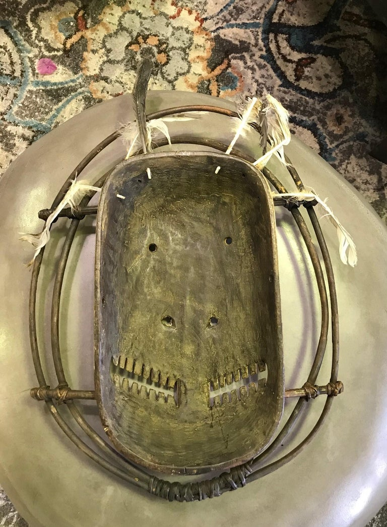 Yupik Yup'ik Native American Alaska Carved Polychrome Wood Anthropomorphic Mask For Sale 4