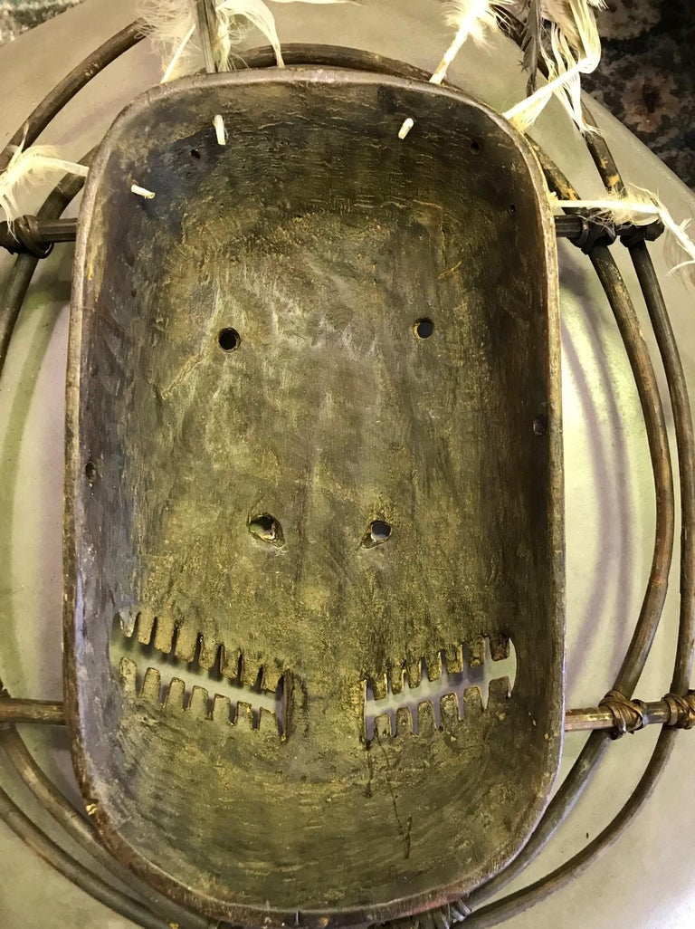 Yupik Yup'ik Native American Alaska Carved Polychrome Wood Anthropomorphic Mask For Sale 5