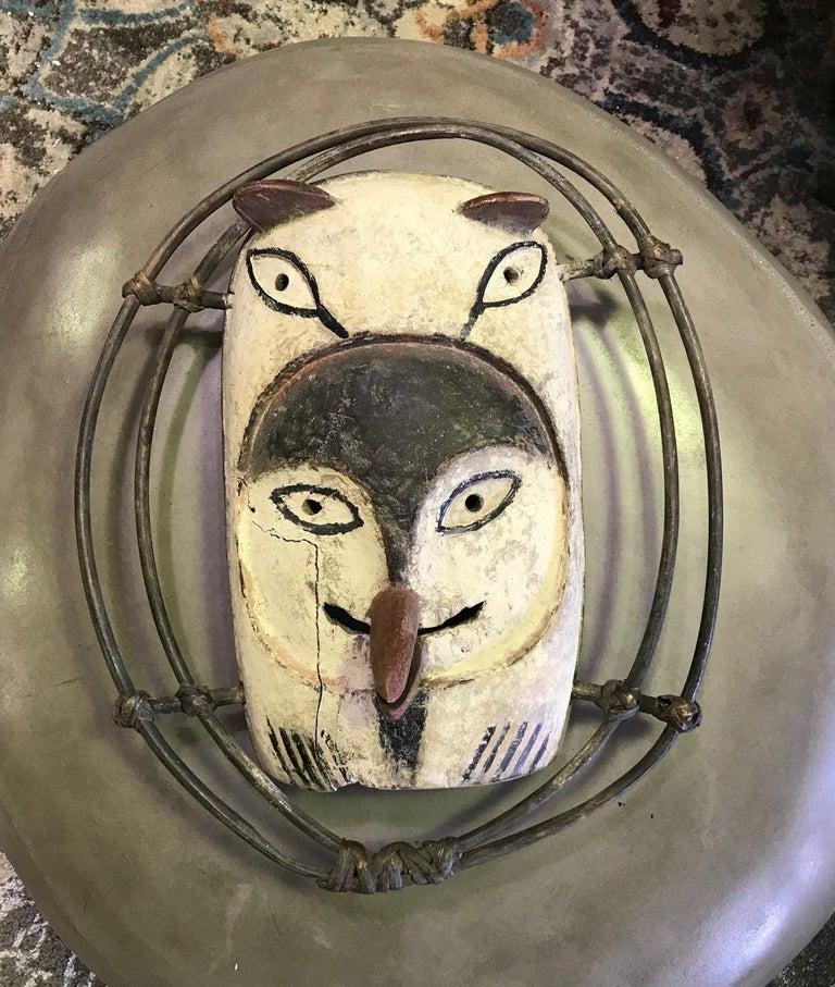 Yupik Yup'ik Native American Alaska Carved Polychrome Wood Anthropomorphic Mask For Sale 9