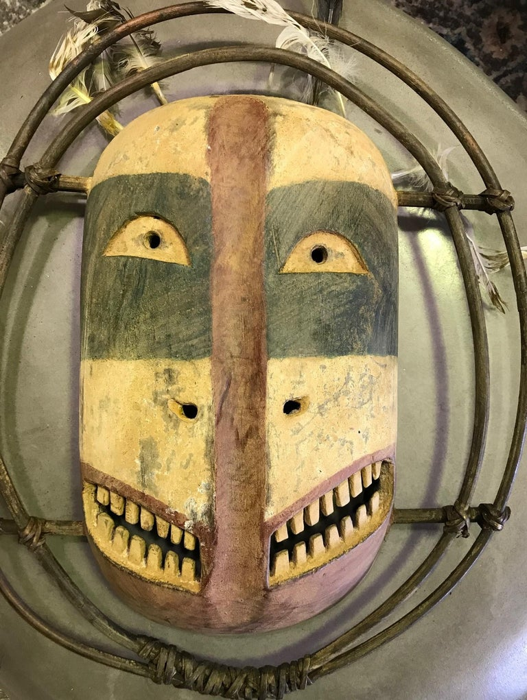A fantastic and somewhat grotesquely strange mask by the Yup'ik (Yupik) aboriginal, indigenous people of South-Western & South Central Alaska. The Yup'ik people, who are related to the Inuit peoples, have a long history of ceremonial mask making.