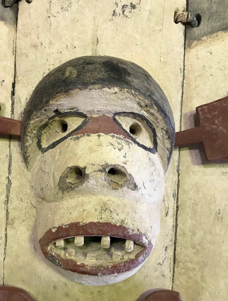 Hand-Carved Yupik Yup'ik Native American Alaska Carved Polychrome Wood Anthropomorphic Mask For Sale