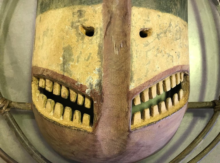 20th Century Yupik Yup'ik Native American Alaska Carved Polychrome Wood Anthropomorphic Mask For Sale