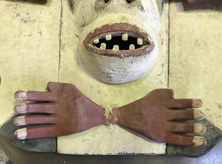 Natural Fiber Yupik Yup'ik Native American Alaska Carved Polychrome Wood Anthropomorphic Mask For Sale