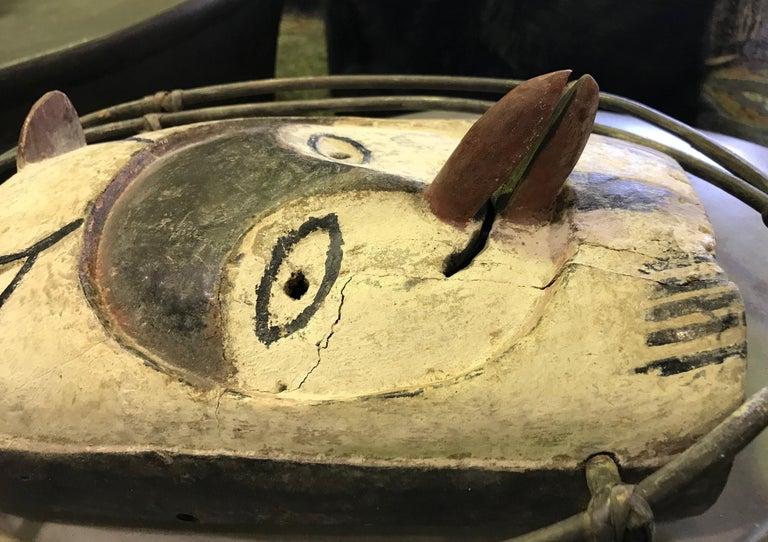 Yupik Yup'ik Native American Alaska Carved Polychrome Wood Anthropomorphic Mask For Sale 1