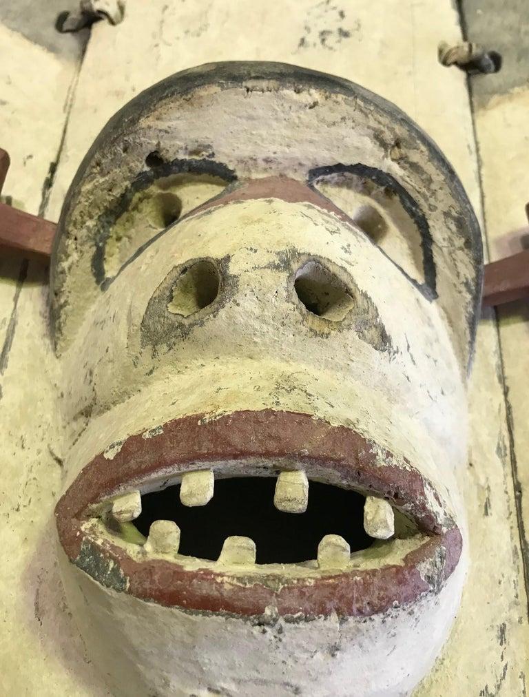 Yupik Yup'ik Native American Alaska Carved Polychrome Wood Anthropomorphic Mask For Sale 2