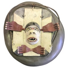 Yupik Yup'ik Native American Alaska Carved Polychrome Wood Anthropomorphic Mask