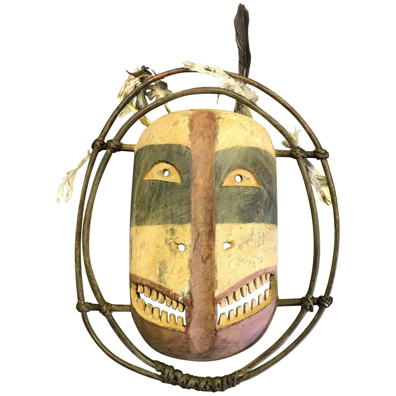 Yupik Yup'ik Native American Alaska Carved Polychrome Wood Anthropomorphic Mask