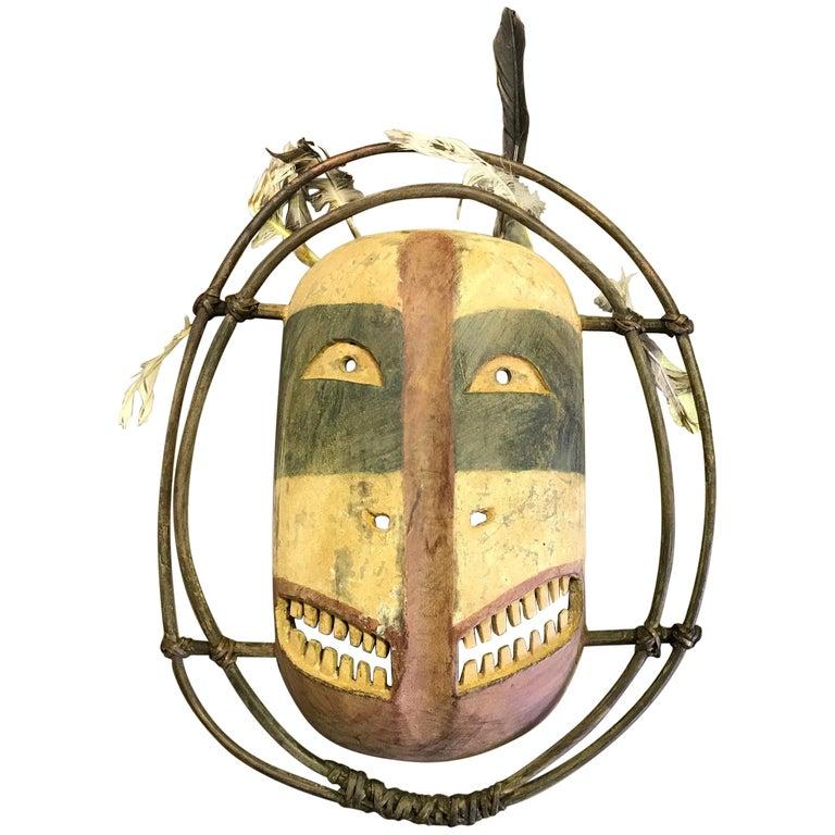 Yupik Yup'ik Native American Alaska Carved Polychrome Wood Anthropomorphic Mask For Sale