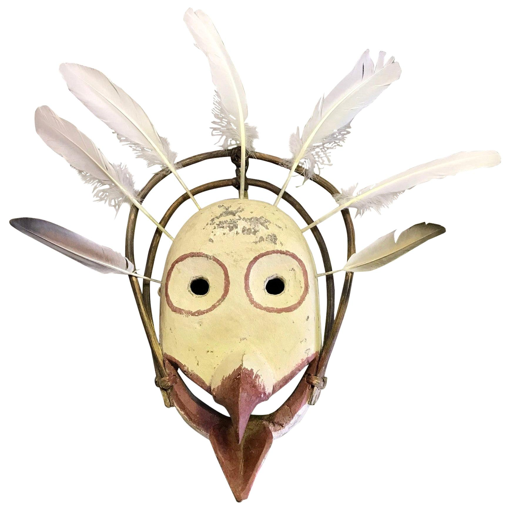 Yupik Yup'ik Native American Alaska Polychrome Wood Anthropomorphic Bird Mask