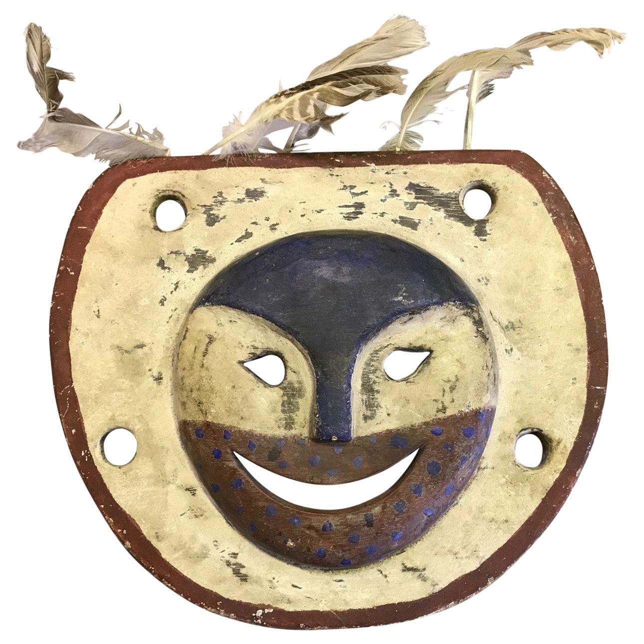 Yupik Yup'ik Native American Alaska Polychrome Wood Anthropomorphic Spirit Mask