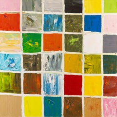 Science Fiction Grid No. 1 - Abstract Oil Canvas, colored squares, white