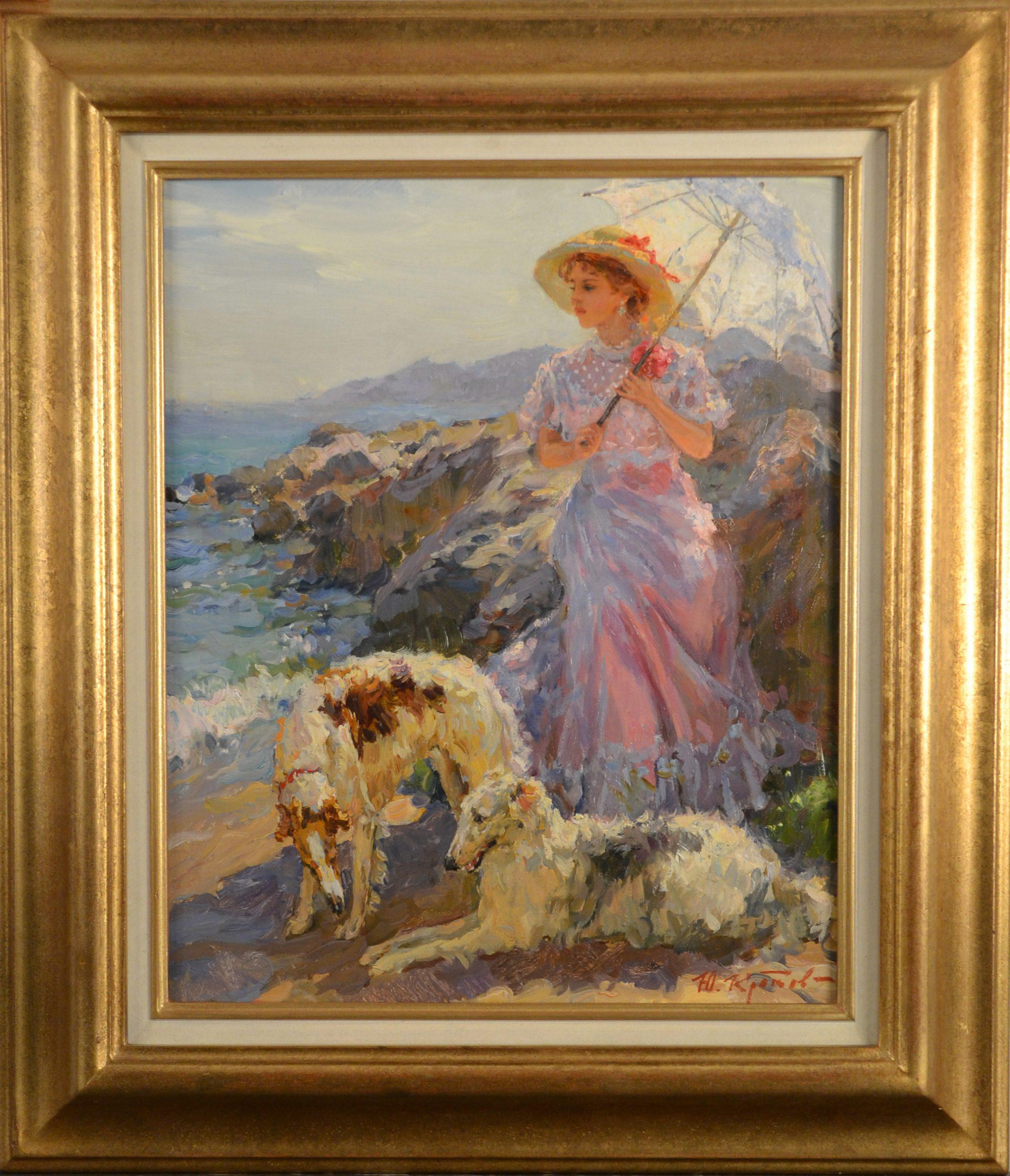 An Elegant Lady with Borzoi dogs in a Coastal Landscape