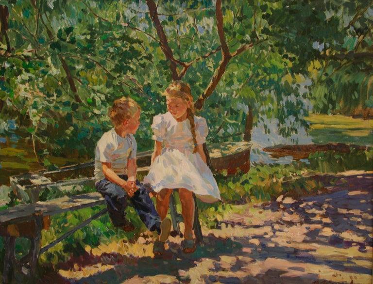CONVERSATION UNDER DAPPLED LIGHT - Painting by Yuri Krotov