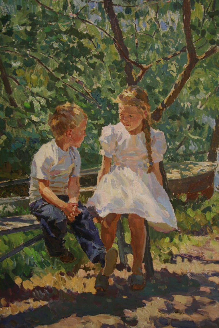CONVERSATION UNDER DAPPLED LIGHT - Impressionist Painting by Yuri Krotov