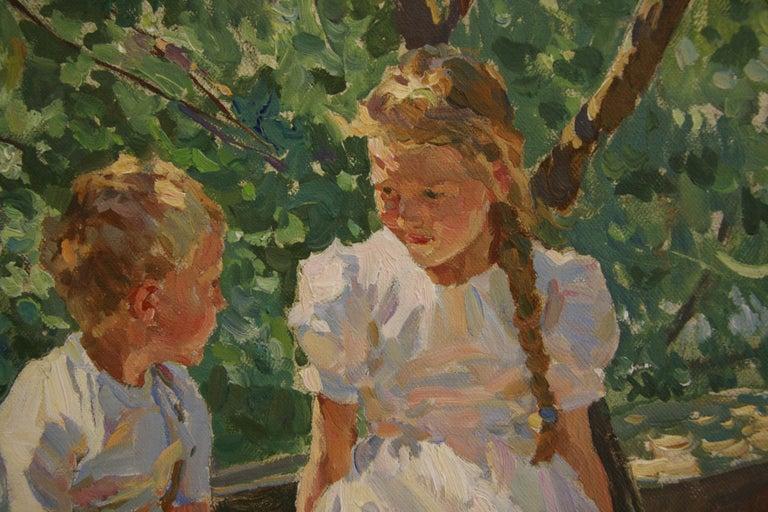 CONVERSATION UNDER DAPPLED LIGHT - Brown Figurative Painting by Yuri Krotov