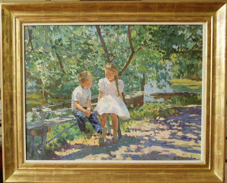 Yuri Krotov Figurative Painting - CONVERSATION UNDER DAPPLED LIGHT