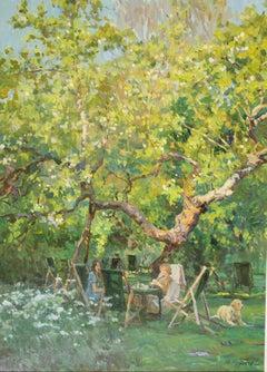 CONVERSATION UNDER THE ANCIENT TREE..Yuri Krotov.contemporary Russian artist