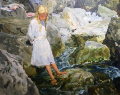 Cooling her feet, French impressionist landscape