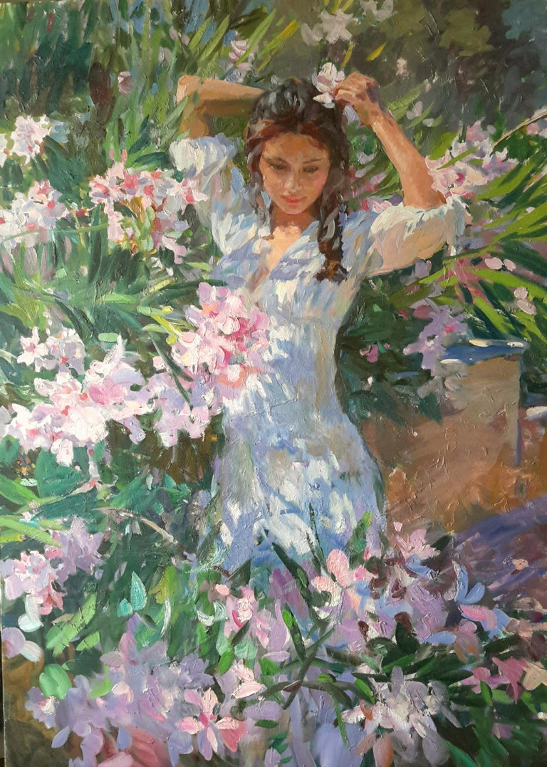 Girl in Flowers, Portrait Painting, Contemporary, Impressionist, 21st Century For Sale 1