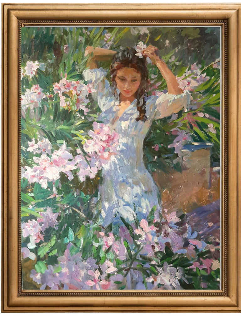 Girl in Flowers, Portrait Painting, Contemporary, Impressionist, 21st Century For Sale 2