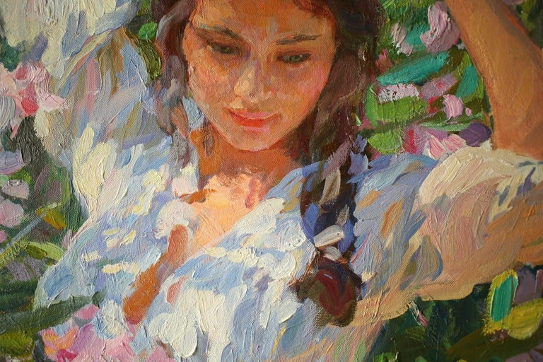 Girl in Flowers, Portrait Painting, Contemporary, Impressionist, 21st Century For Sale 5