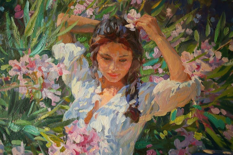 Girl in Flowers, Portrait Painting, Contemporary, Impressionist, 21st Century For Sale 6