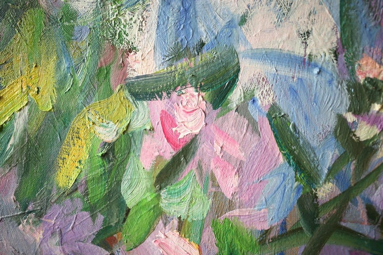 Girl in Flowers, Portrait Painting, Contemporary, Impressionist, 21st Century For Sale 8
