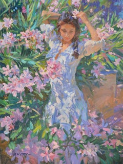 Girl in Flowers, Portrait Painting, Contemporary, Impressionist, 21st Century