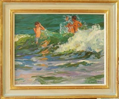 Jumping Waves ,,Yuri Krotov contemporary Russian Impressionist oil painting
