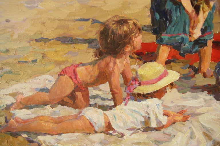 MAY BANK HOLIDAY at the BEACH - Impressionist Painting by Yuri Krotov